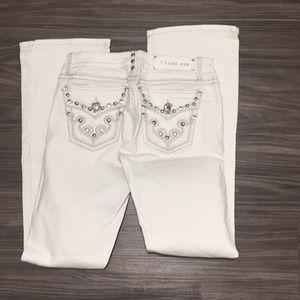 LA Idol White Jeans w/ bling! Like New ~ Sz. 9